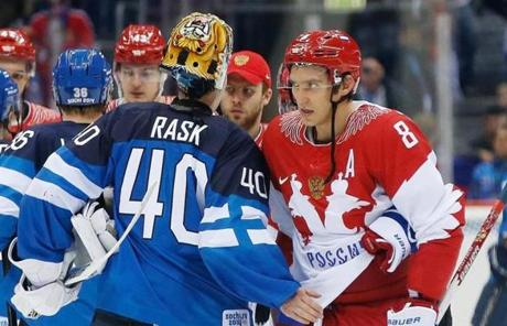Rask greeted Russia's Alexander Ovechkin after Finland's victory.